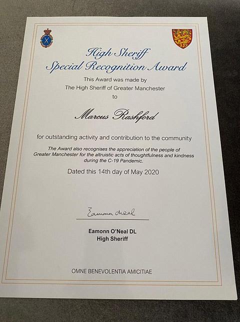 Rashford nhận giải thưởng đặc biệt