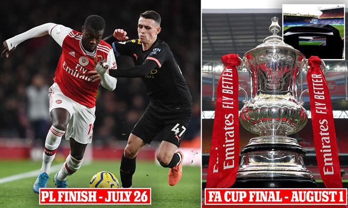 Ngày 26/7 sẽ diễn ra vòng đấu cuối cùng của Premier League và ngày 1/8 là chung kết FA Cup