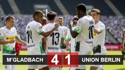Mgladbach 4-1 Union Berlin: Chủ nhà vào top 3