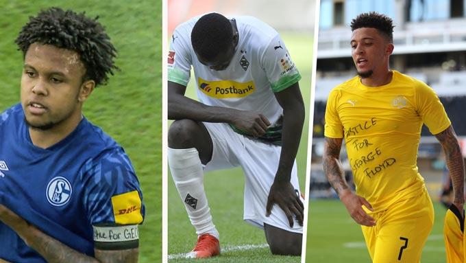 Nhiều cầu thủ tại Bundesliga đã tham gia chiến dịch đòi công lý cho George Floyd từ (trái sang) McKennie, Thuram và Sancho