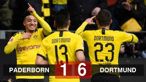 Paderborn 1-6 Dortmund: Sancho lập hat-trick, Dortmund kiên trì bám đuổi Bayern