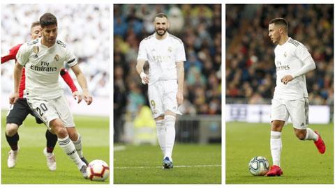 Real rất kỳ vọng bộ ba Asensio-Benzema-Hazard sẽ tỏa sáng khi La Liga trở lại