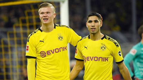 Hakimi (phải) đang khiến mọi hàng thủ tại Bundesliga khiếp sợ