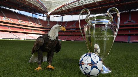 Chú đại bàng linh vật của Benfica, đội sở hữu sân Da Luz, nơi sẽ đăng cai trận chung kết Champions League mùa này