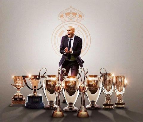 Zidane giành tới 10 danh hiệu sau 199 trận dẫn dắt Real Madrid