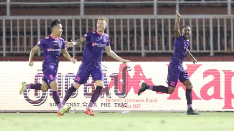 Niềm vui của cầu thủ Sài Gòn FC Ảnh: Quốc An