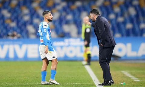 """Napoli của Gattuso (phải) thiếu ổn định trong những trận đấu mà họ được đánh giá là """"cửa trên"""""""