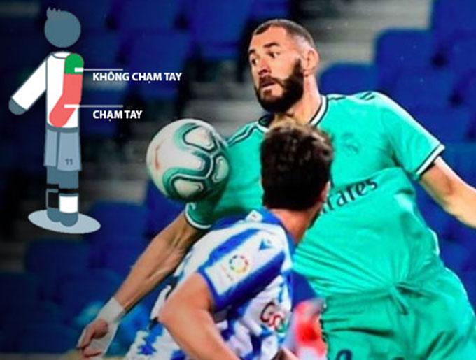 Luật bóng đá không xem pha khống chế của Benzema là lỗi để bóng chạm tay