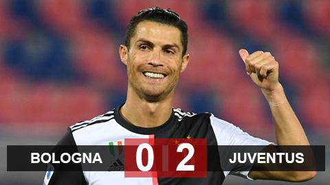 Bologna 0-2 Juventus: Ronaldo giúp Juventus giành trọn 3 điểm dù thi đấu thiếu người