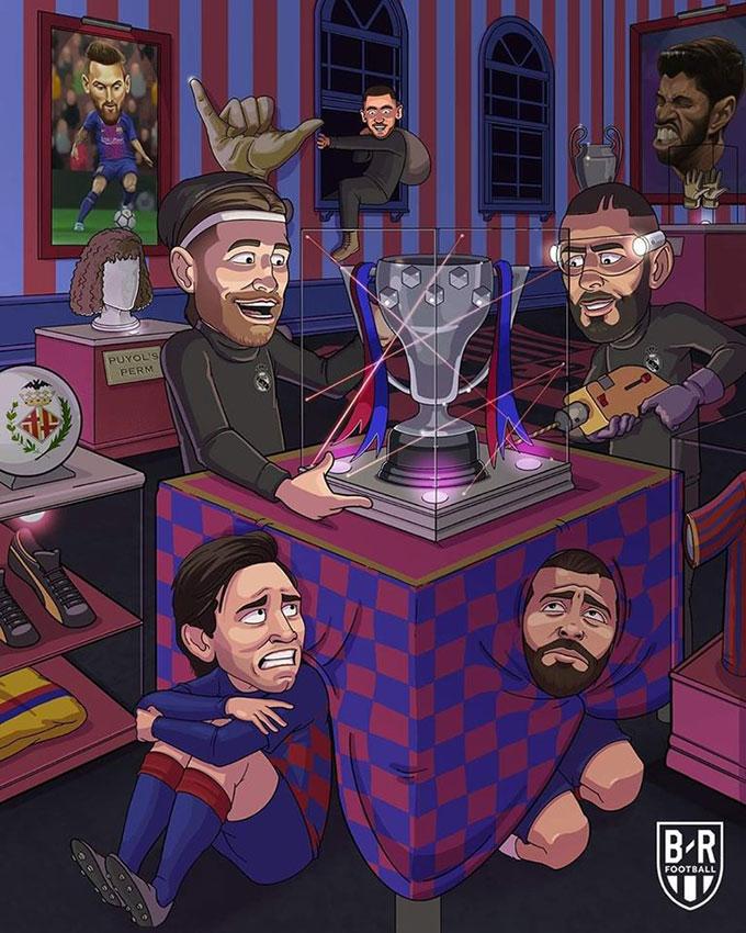 """Barcelona run rẩy khi """"băng cướp"""" Real Madrid tới cướp cúp"""