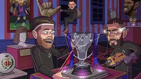 Tổng hợp biếm họa: Real cướp cúp của Barca