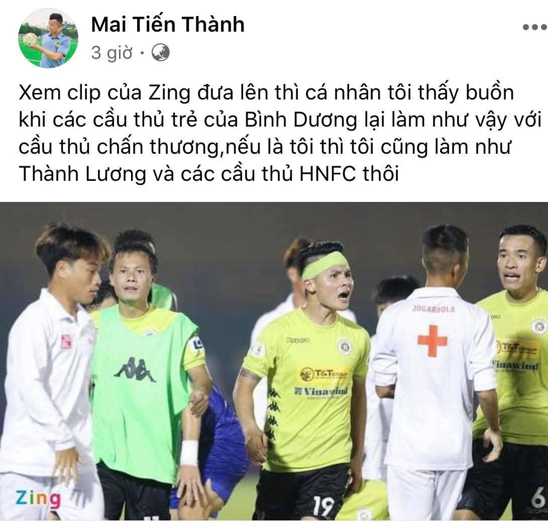 Dòng chia sẻ trên trang cá nhân của cựu tiền vệ Mai Tiến Thành về sự việc trên sân Gò Đậu
