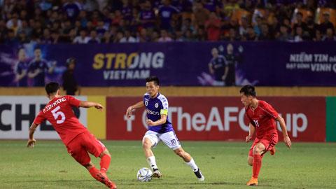 Hà Nội FC (phải) trận gặp April 25 tại chung kết liên khu vực AFC Cup 2019