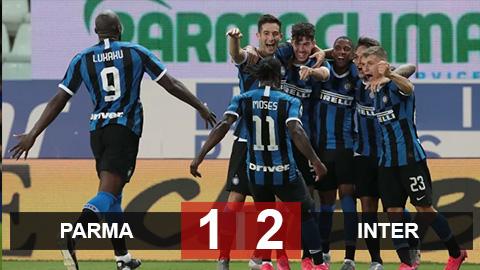 """Parma 1-2 Inter: Lukaku """"tịt ngòi"""", Inter vẫn hạ Parma để duy trì áp lực lên Lazio và Juventus"""