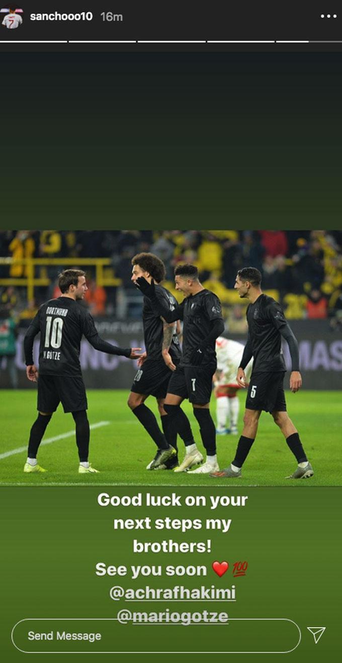 Sancho tạm biệt hai đồng đội ở Dortmund
