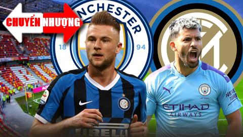 Trong khi HLV Conte của Inter là fan ruột của Aguero (phải), thì HLV Guardiola (Man City) đã theo đuổi Skriniar 2 mùa giải vừa qua
