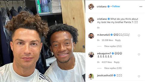 Ronaldo uốn xoăn, nhuộm nâu tóc mới bắt chước Cuadrado