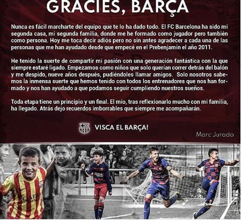 Jurado viết tâm thư chia tay Barca trên Instagram