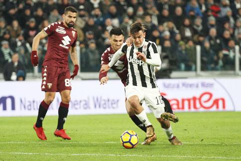Dybala (giữa) và đồng đội sẽ dễ dàng vượt qua Torino