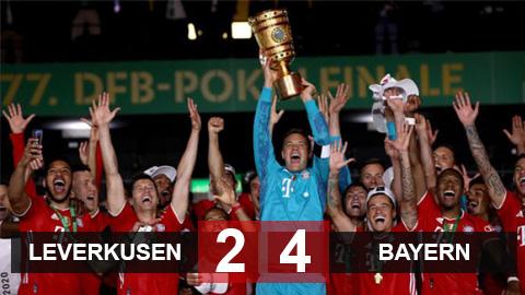 Leverkusen 2-4 Bayern: Lewandowski lập cú đúp, Bayern tiến thêm 1 bước tới cú ăn ba