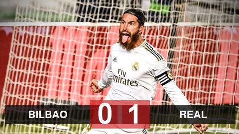 Bilbao 0-1 Real: Ramos lại ghi bàn trên chấm 11m, Real tiến thêm 1 bước tới chức vô địch