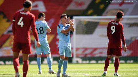 Liverpool quẳng đi 2 kỷ lục sau trận hòa Burnley