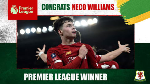 Neco Williams trở thành cầu thủ xứ Wales thứ 5 vô địch Premier League