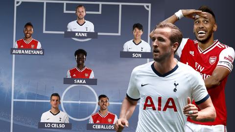 Arsenal bị Tottenham áp đảo ở đội hình kết hợp