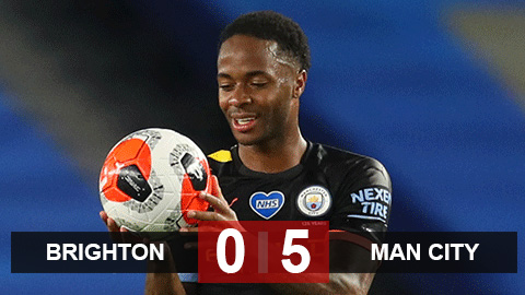 Brighton 0-5 Man City: Sterling lập hat-trick, Man City lần thứ 3 thắng 5-0 từ sau đại dịch Covid-19