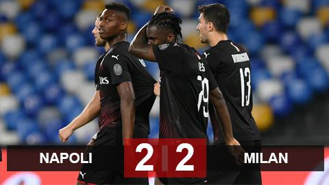 Napoli 2-2 Milan: Hòa đáng tiếc, Milan lỡ cơ hội vào Top 6