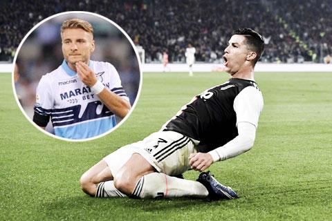 Với 2 bàn thắng vào lưới Atalanta, Ronaldo giờ chỉ còn kém Immobile (ảnh nhỏ) đúng 1 bàn thắng trong cuộc đua Vua phá lưới