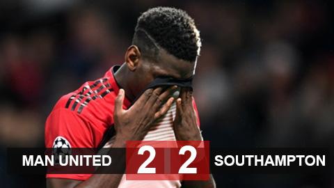 Kết quả M.U 2-2 Southampton: M.U lỡ cơ hội đánh chiếm vị trí thứ 3 của Chelsea đúng phút chót