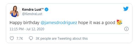 Kendra Lust chúc mừng sinh nhật James Rodriguez trên Twitter