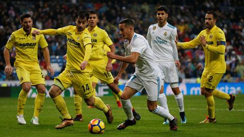 Điểm tựa sân nhà sẽ giúp Lucas Vazquez (thứ 3 từ phải qua) và đồng đội vượt qua Villarreal để lên ngôi vô địch La Liga