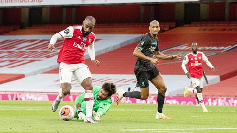 Lacazette (trái) trừng phạt sai lầm của hàng thủ Liverpool để ghi bàn san bằng tỷ số 1-1 cho Arsenal