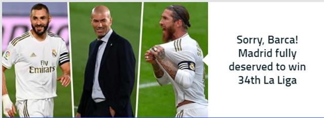 Tờ Goal: Xin lỗi, Barcelona! Real của Zidane hoàn toàn xứng đáng với danh hiệu La Liga lần thứ 34
