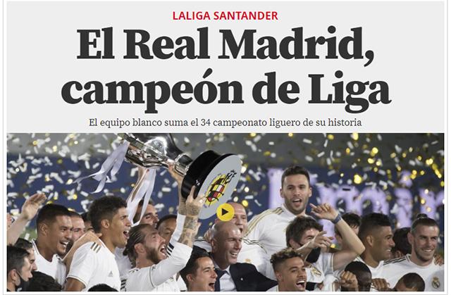 Tờ El Mundo Deportivo: Real Madrid, chủ nhân của chức vô địch La Liga