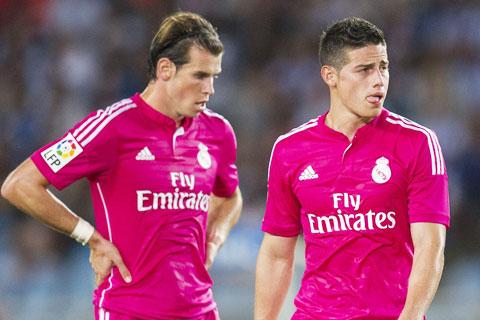 Bale (trái) và James là những cầu thủ mà Real muốn thanh lý đầu tiên ở Hè này