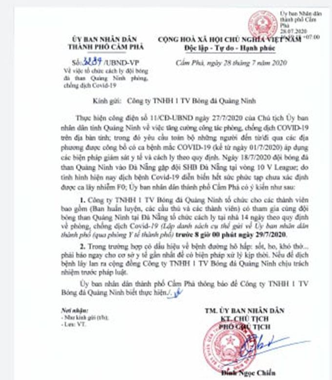 Công văn chỉ đạo của UBND TP Cẩm Phả đối với Than.QN về việc thực hiện cách ly