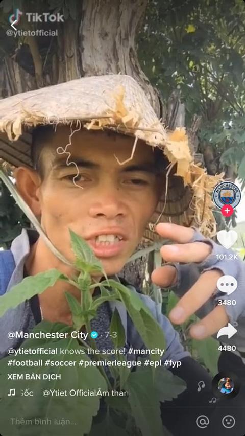 CLB Manchester City cũng thích thú trước video của Soytiet. Ảnh: Internet.