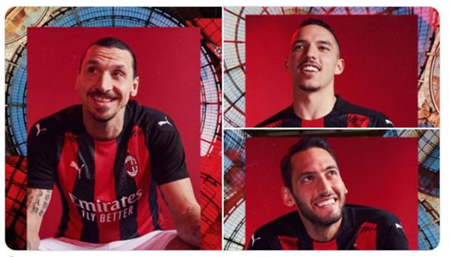 """Áo đấu sân nhà của AC Milan trong mùa giải mới với sự góp mặt của 3 """"người mẫu"""" là Zlatan Ibrahimovic,Hakan Calhanoglu,Ismaël Bennacer"""