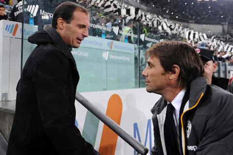 Trước đây, Allegri (trái) từng thay Conte ở Juve và rất thành công