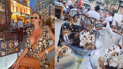 Bạn gái cũ của Neymar lại khoe vòng 1 căng mọng khi ăn kem ở Monaco