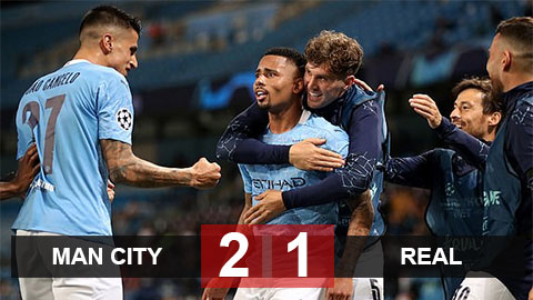 Kết quả Man City 2-1 Real (tổng tỷ số 4-2): Man City vào tứ kết