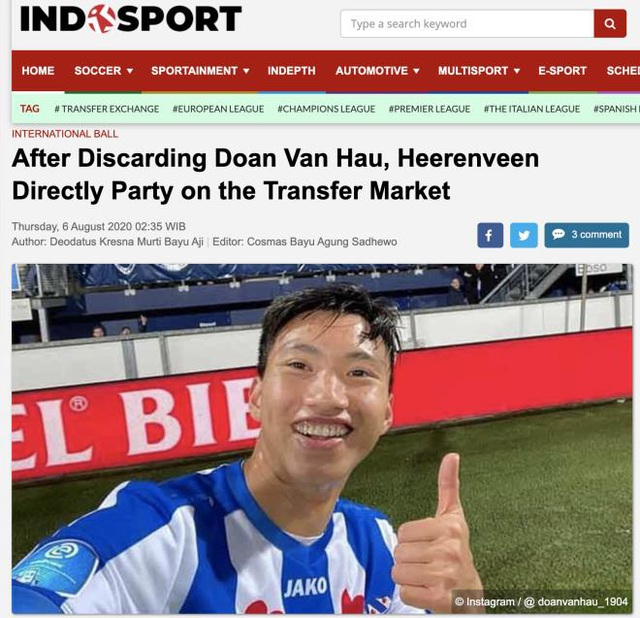 Tờ Indosport mỉa mai khi Văn Hậu về nước