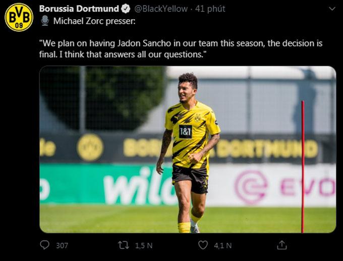 Dortmund xác nhận Sancho không sang M.U