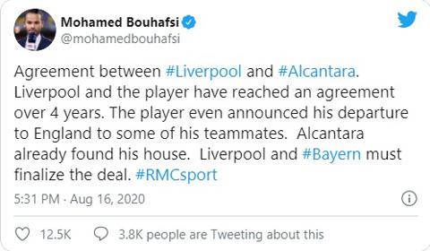 Thông tin Thiago đạt thỏa thuận cá nhân với Liverpool được tiết lộ
