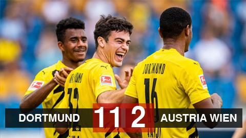 Borussia Dortmund 11-2 Austria Wien: Sancho và Bellingham cùng ghi bàn, Dortmund thắng trận giao hữu thứ 2