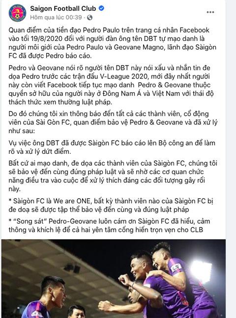 Ảnh chụp màn hình trên trang fan page của Sài Gòn FC