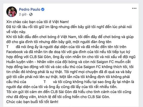 """Pedro """"tố"""" ông T trên trang facebook cá nhân"""